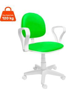 Cadeira De Escritório Secretária Mazikeen Ajustável Verde E Branca