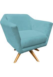 Poltrona Decorativa D'Rossi Lorena Suede Azul Turquesa Com Base Giratória De Madeira.