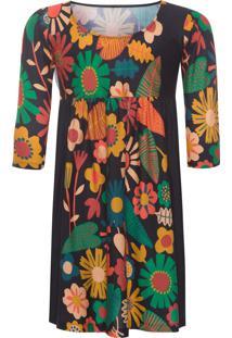 Vestido Infantil Malha Floral - Preto
