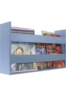 Porta Livros E Revistas De Parede 50X30X11 Azul Baby