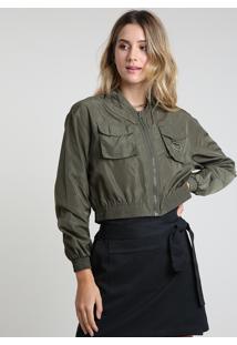 Jaqueta Bomber Feminina Cropped Em Nylon Com Bolsos Verde Militar