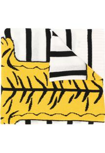 Ultràchic Cachecol Com Estampa De Tigre - Branco