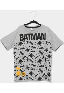 Camiseta Infantil Fakini Batman Masculina - Masculino-Cinza