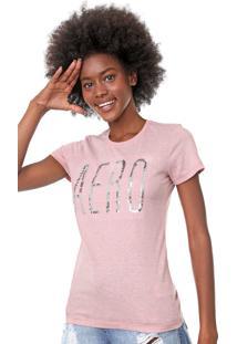Camiseta Aeropostale Paetês Rosa