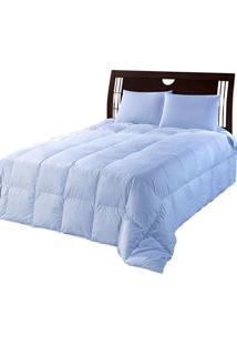 Edredom Casal 100% Pluma De Ganso-210X220-Azul