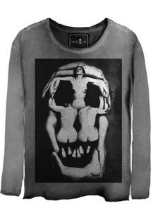 Camiseta Estonada Manga Longa Skull Corps
