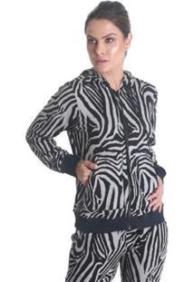 Jaqueta Estampada Com Capuz Skin - Feminina - Feminino-Cinza