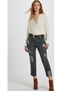 Calça Jeans Boy Estampa Onça Denim Onça - 38