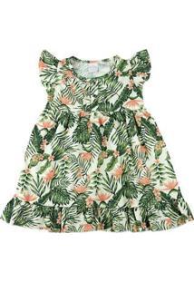 Vestido Infantil Tricoline Estampa Digital Folhagem - Natural 1