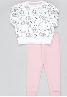 Conjunto Infantil Marie De Blusão Estampado Em Moletom Branco + Calça Rosa