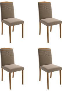 Conjunto Com 4 Cadeiras De Jantar Vanessa Suede Madeira E Joli