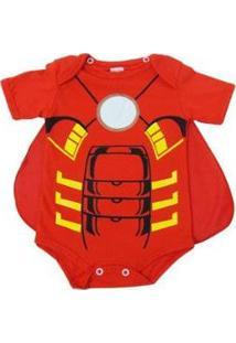 Body Bebê Anne Baby Manga Curta Homem De Ferro Masculino - Masculino-Vermelho