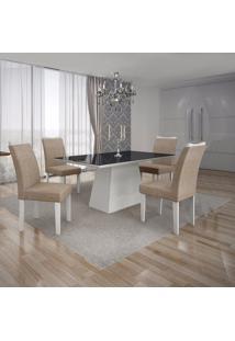 Conjunto Sala De Jantar Mesa Tampo Mdf/Vidro Preto 4 Cadeiras Pampulha Leifer Branco/Linho Bege