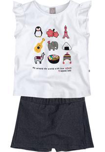Conjunto Infantil Menina Com Shorts Saia Hering Kids