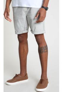 Bermuda De Sarja Masculina Reta Com Cordão Bege
