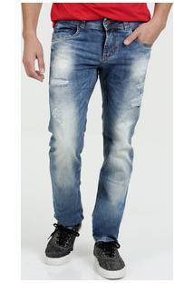 Calça Masculina Jeans Destroyed Reta Sawary