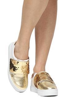 Tênis Shoestock Bicolor Velcro Paetê - Feminino