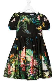 Dolce & Gabbana Kids Vestido Com Estampa Floral - Verde