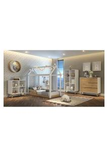 Dormitório Analu Comoda 3 Gavetas, Guarda Roupa E Cama Analu Branco/Bétula Carolina Baby