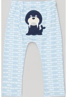 Calça Infantil Leão Marinho Estampado Em Algodão + Sustentável Azul Claro