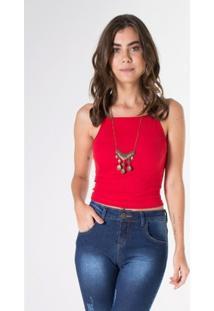 Blusa Malha Lisa S10 [Flk] O17W-2250 Alc Vermelho Escuro G - Feminino