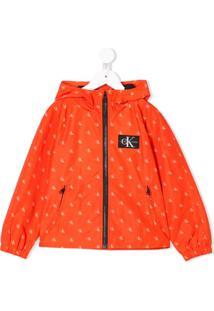 Calvin Klein Kids Jaqueta Com Estampa De Logo - Laranja