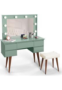 Penteadeira Com Espelho Strass Verde