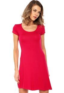 Vestido Malwee Curto Evasê Rosa