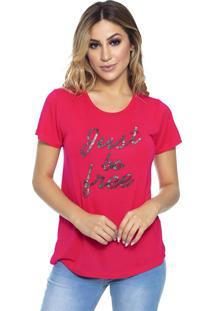 T-Shirt Cavallari Just Be Free Bordada A Mão Pink