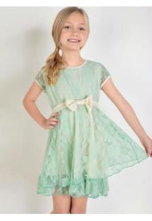 Vestido Infantil Com Renda Verde