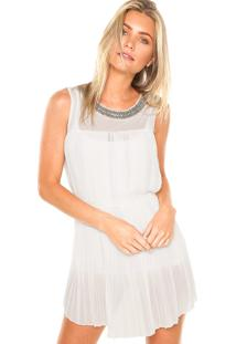 Vestido Fiya Lady Curto Detalhes Branco