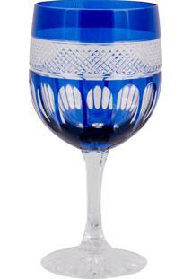 Taça De Cristal Lodz Para Água De 500 Ml - Azul Egípcio