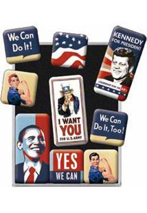 Imãs Usa Uncle Sam 9 Peças Nostalgic Art