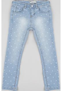 Calça Jeans Infantil Skinny Estampada De Corações Azul Claro
