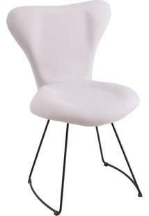Cadeira Jacobsen Meia Lua Suede Branco