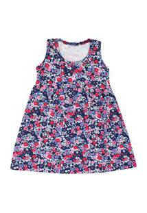 Vestido Infantil Regata Cotton Azul Marinho Floral (1/2/3) - Kappes - Tamanho 3 - Azul Marinho