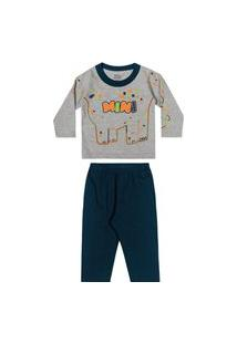 Pijama Infantil Bebê Masculino Mini Dinossauro Elian