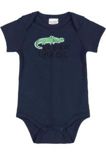 Body Para Bebê Em Suedine Azul