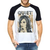 Camiseta Criativa Urbana Raglan Frases Quiet - Masculino-Branco 99109aeaf22