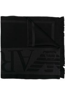 Emporio Armani Cachecol De Tricô Com Padronagem - Preto