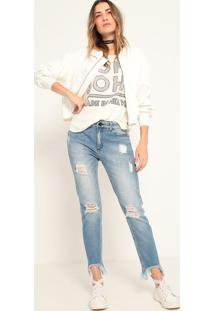 Jaqueta Bomber Satin- Off White- John Johnjohn John