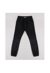 Calça Jeans Infantil Jogger Com Recortes Preta