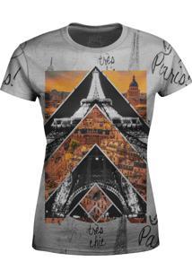 Camiseta Estampada Baby Look Over Fame Paris Cinza