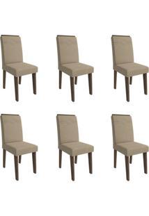Conjunto Com 6 Cadeiras De Jantar Taís I Suede Marrocos E Caramelo