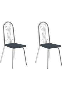 Kit 2 Cadeiras 182 Jeans/Cromado - Carraro Móveis