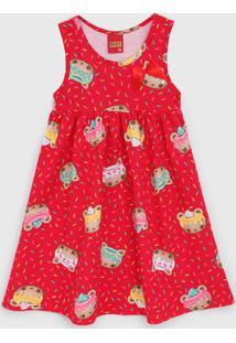 Vestido Kyly Infantil Ursinho Vermelho