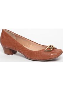 Sapato Em Couro Com Aviamento- Marrom Claro- Salto: Jorge Bischoff