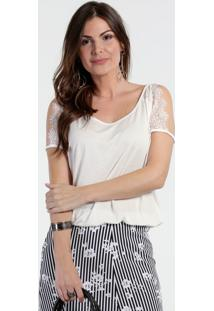Blusa Feminina Renda Open Shoulder Marisa