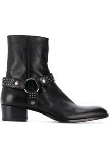 Saint Laurent Ankle Boot Wyatt Animal Print - Preto