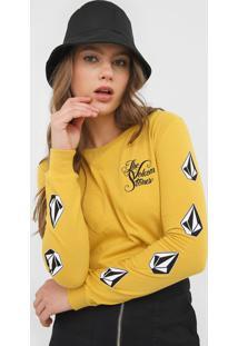 Camiseta Volcom The Stones Amarela - Amarelo - Feminino - Dafiti